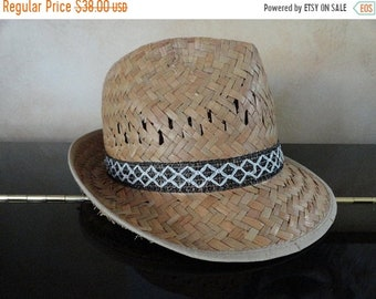 SALE Straw Fedora Hat - Made in Italy - Summer hat - Vintage