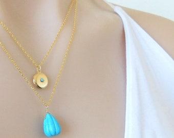 Gold Round Locket, Vintage Gold Locket Necklace, Tiny Gold Locket, Bridesmaids Gift, Gold Necklace, Gift for Her