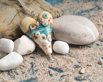 Extra Large Heart in Sand and Sea Design, handmade glass bead pendant, by Beach Art Glass in the UK