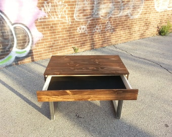 SALE - Reclaimed Wood Desk with Drawer and Raw Steel legs