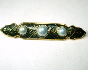 Gold Bar Pin with Pearls and Earthy Green Enamel. 1980s  Classic Medieval Style Brooch,