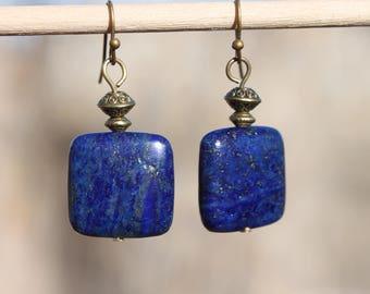 Lapis Earrings, Lapis Lazuli Earrings, Brass Earrings, Boho Earrings, Boho Jewelry, Dangle Earrings, Drop earrings, Gift For her For women