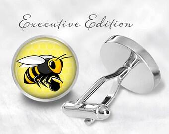 Honeybee Cufflinks - Honey Bee Cuff Links - Bees Cufflink - Beekeeper Cuff Link (Pair) Lifetime Guarantee (S1437)
