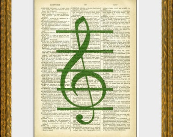 TREBLE CLEF recycled book page art print - an upcycled antique dictionary page with a vintage music symbol illustration -  wall art