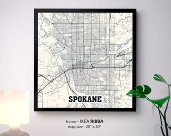 Spokane Washington Map Print, Spokane Square Map Poster, Spokane Wall Art, Spokane gift, Custom Personalized map