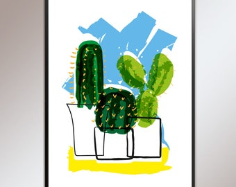 Cactus cluster, original illustration, digital print in blues and greens, great wall art, liven your wall