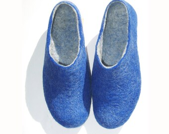 Valentines Day Gift Felted Slippers for Men Slippers Shoes Women Home Wool Shoes Blue Slippers / Mix and Match Cork Soles Color Rubber Soles