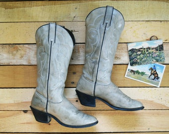 Vintage Women's 6 Kenny Rogers Cowboy Boots Gray Distressed-Look Leather Western Cowgirl 1980s
