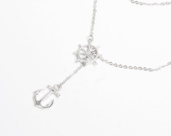 Ship's  Anchor and Wheel Necklace,  Nautical Jewelry, Gold Anchor, Silver Anchor