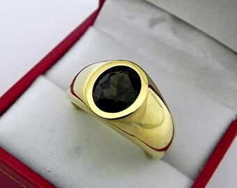 AAA Rare Hiddenite   9x7mm  2.41 Carats   Heavy 18K Yellow gold MAN'S ring 20 grams. 2533