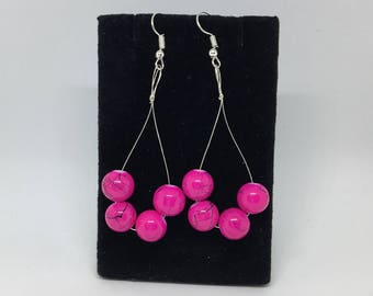 Pink and Black Dangle Hoop Earrings
