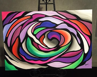 Wild Flower - Large Abstract original painting on canvas, acrylic paint