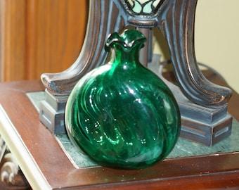 Vintage Emerald Green Glass Vase