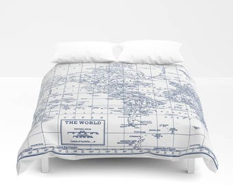 Comforter vintage etsy navy blue and white world map duvet cover or comforter bed bedroom travel decor cozy soft winter warm wanderlust bedroom decor gumiabroncs Choice Image