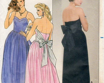 1980s Evening Party Dress Designed by Kathryn Conover - Vintage Pattern Butterick 6952 - Size 10 Bust 32 1/2 Strapless Back Bow