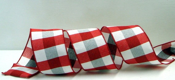 wired plaid ribbon 2 5 inchred white and grey plaid ribbon