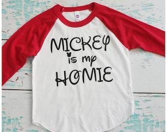 """Boys """"Mickey is my homie"""" Red Raglan"""