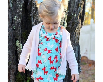 Baby Reindeer Romper OR Skirt, Baby Toddler Rompers, Sunsuit, Christmas Outfit, Girls Skirts, Bow, Holiday Gift, Boho, Headwrap, Xmas, Gifts