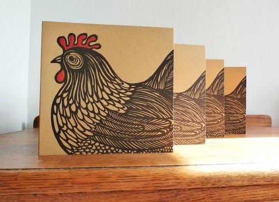 Linocut Cards Set of 4, Cockerel,  Original Hand Printed Cards, Blank Greeting Cards, Brown Kraft Cards, Free Postage in UK,