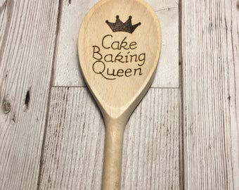 Personalised wood burned wooden spoon, any writing or small image