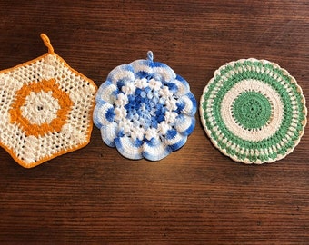 Lot of 3 Vintage Hand Crocheted Pot Holders, Trivet, Hot Pads with Loops for Hanging. Green, Blue & Orange