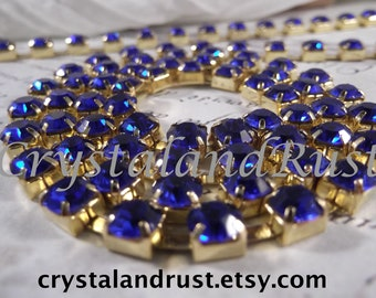 6mm Sapphire Rhinestone Cup Chain --- Gold Base Metal --- 1 yard (36 inch)
