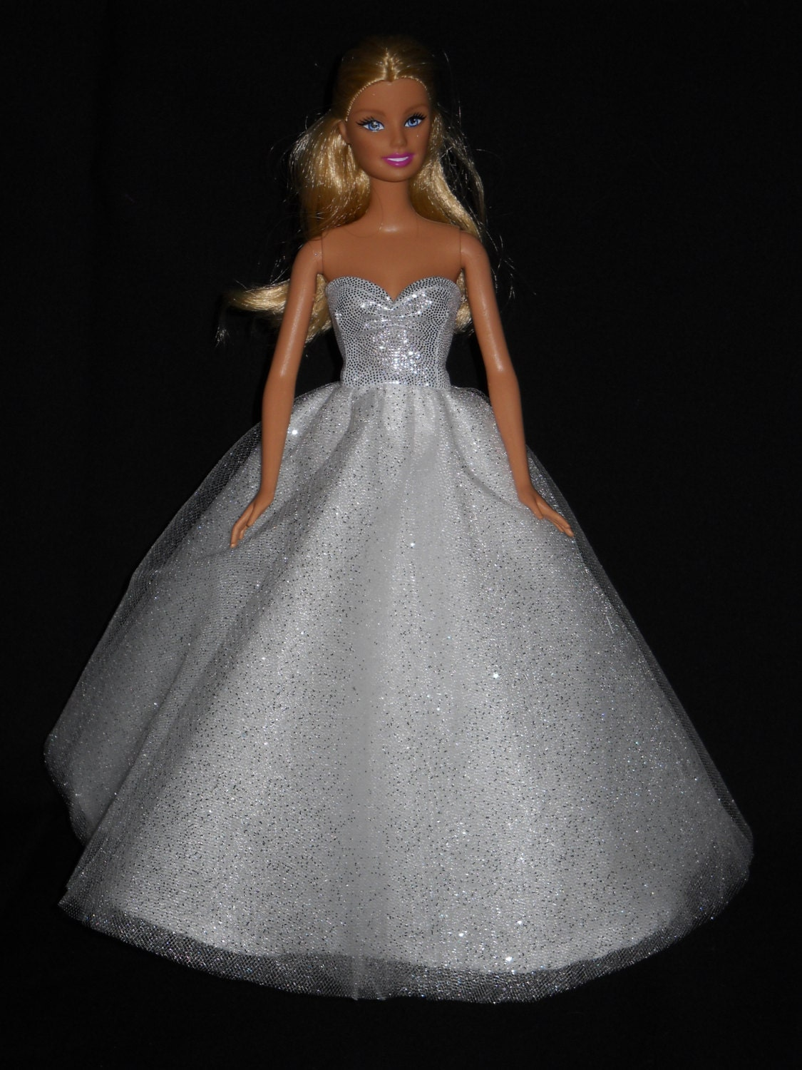 Barbie Doll Dress Handmade Silver and Sparkly White Ball Gown