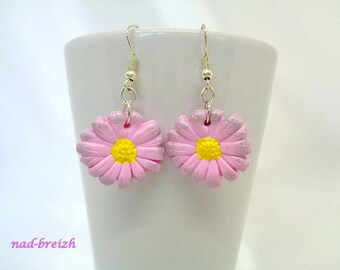 Earrings Fimo pink Daisy flower polymer clay - hand made