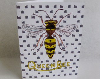 Mother's Day Card - Queen Bee - Handmade and printed from original ink and gouache illustration