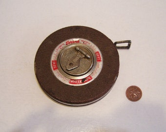 Evans White 50' Metal Retractable Measuring Tape Vintage