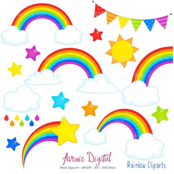 rainbows clipart scrapbook printables vector rainbow and cloud clip rh etsystudio com scrapbooking clipart scrapbook clip art free download