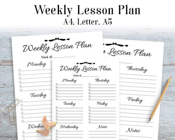 Weekly Lesson Plan Printable Teacher Planner Lesson Plan