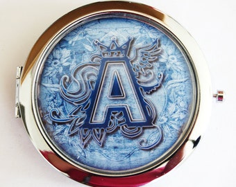 Monogram compact mirror, personalized, compact mirror, Custom, Denim Blue, monogram, monogrammed gifts, monogram mirror  (2204)