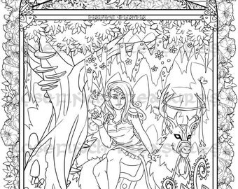 Printable Fantasy Forest Coloring Page
