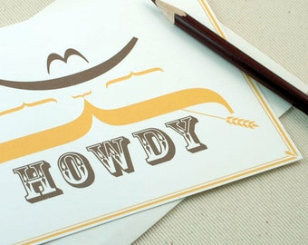 Mustache Card - Howdy Greeting Card by Oh Geez Design