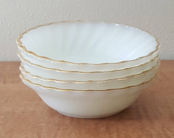 Fire King Swirl Golden Anniversary Set of 4 Milk Glass Berry Bowls with 22K Gold Trim by Anchor Hocking