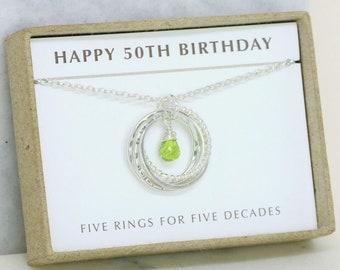 50th birthday gift, August birthstone necklace 50th, peridot necklace for 50th birthday, gift for wife, mom - Lilia