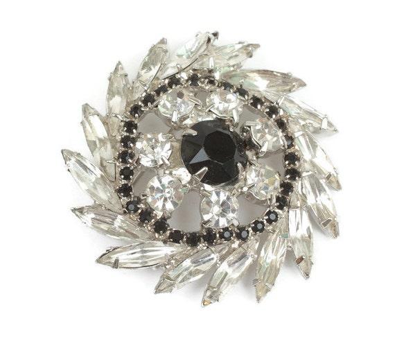 Rhinestone Pinwheel Brooch Clear and Black Stones Vintage