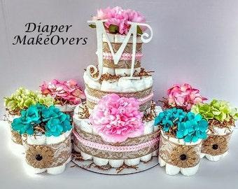 Burlap Diaper Cake - Spring Flowers - Baby Shower Centerpiece - Shower Decorations - Rustic Burlap Lace Diaper Cake - COMBO SET
