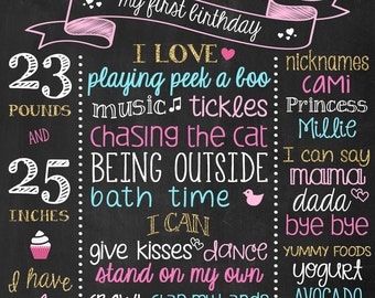 Baby Girl Birthday Chalkboard Photo Props, Personalized Chalk Board Art, Milestone, Birthday Decorations for Girls