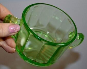 Green Uranium Depression Vasaline Glass double handle  Sugar Bowl
