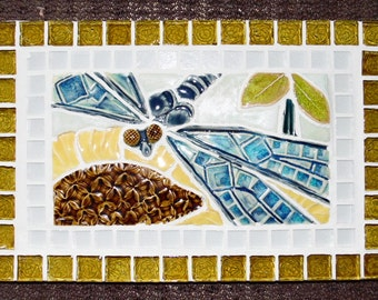 Dragonfly on Sunflower Mosaic