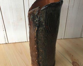 Faux Bois Ceramic Vase - Handmade Pottery Utensil Holder - Rustic Pottery Decor - Bark Imprinted Ceramic Vase - Nature Inspired Pottery