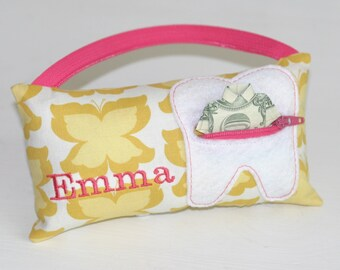 Girl's Yellow Butterfly Personalized Tooth Fairy Pillows