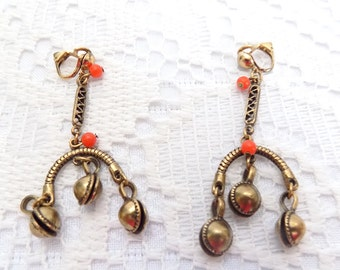 vintage gold tone bell clip on earrings