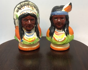 American Indian Chief and Squaw Ceramic Salt and Pepper Shakers