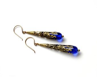 BLUE Steampunk Earrings Victorian Steampunk Jewelry Sapphire Earrings Antique Brass Earrings Steam Punk Jewelry By Victorian Curiosities