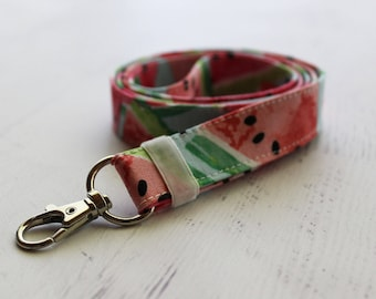 Watermelon print lanyard - cute teachers lanyard - pink key holder lanyard - ID badge holder - watermelon key fob - blue lanyard