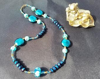 Gorgeous blue multy color necklace