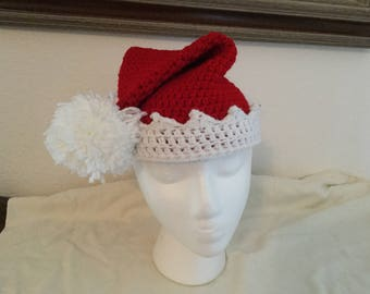 Crochet Christmas Hat with Bell and Pom Pom